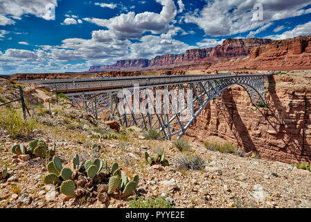 Navajo Bridge, Marble Canyon and Vermillion Cliffs, Arizona, USA, North America - Stock Photo