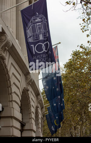 flags celebrating the centenary of australian house a landmark building on the strand england london uk home to the high commission of australia pyyebr - 15+ Australia House London Images  Pics