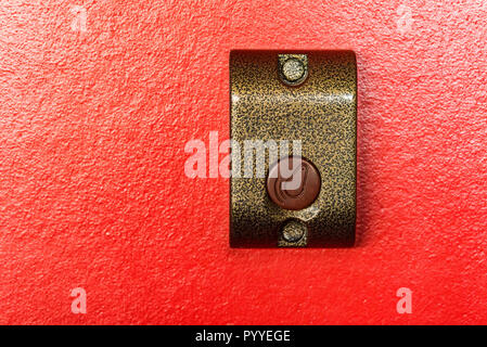 Electronic door lock close up on red - Stock Photo