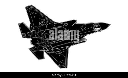 Vector draw of modern American jet fighter. - Stock Photo