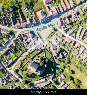 Biertan town and Biertan lutheran evangelical fortified church in Sibiu County, Transylvania, Romania. Aerial view. Map view. Biserica fortificata din Biertan, Sibiu, Transilvania, Romania. - Stock Photo