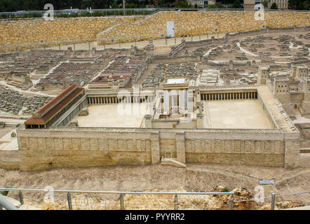 9 May 2018  the outdoor scale model of the ancient city of Jerusalem with Herod's Temple at the Israel Museum in Jerusalem. The model has many arbitra - Stock Photo