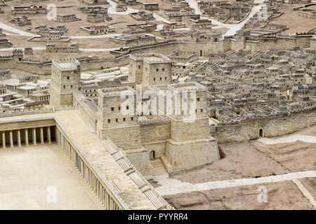 9 May 2018 The outdoor scale model of the ancient city of Jerusalem showing Herod's Palace at the Israel Museum in Jerusalem. The model has many arbit - Stock Photo