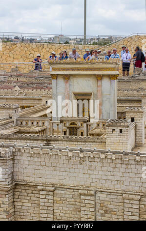 9 May 2018 Visitors walk around the outdoor scale model of the ancient city of Jerusalem at the Israel Museum in Jerusalem. - Stock Photo