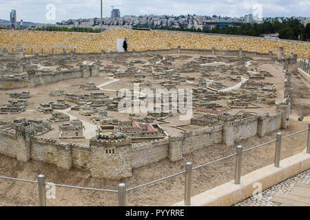 9 May 2018 Visitors walk around the outdoor scale model of the ancient city of Jerusalem at the Israel Museum in Jerusalem. The model has many arbitra - Stock Photo
