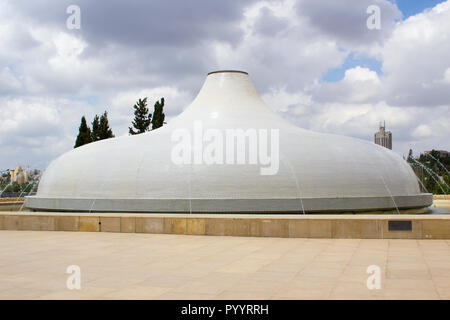 9 May 2018 The Shrine of the Book Dome fountain at the Israel Museum in Jerusalem that houses the Dead Sea Scrolls found in Qumran in the Dead Sea wil - Stock Photo