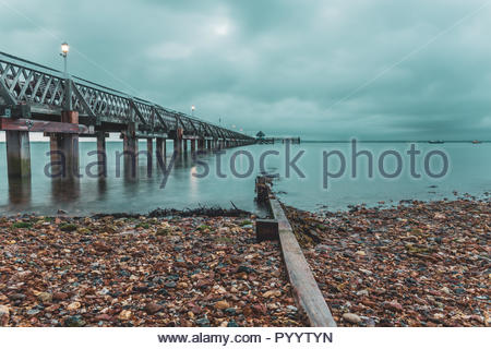 Image of Isle of Wight. Captured during sunset, using slow shutter speed. - Stock Photo