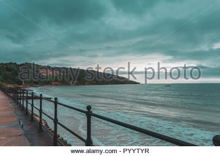 Image of a Beach, Captured in Isle of Wight, during sunset. - Stock Photo