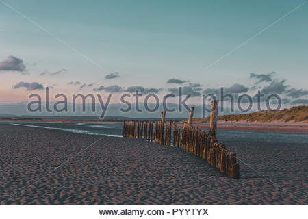Image of West Wittering Beach. Captured during sunset. - Stock Photo