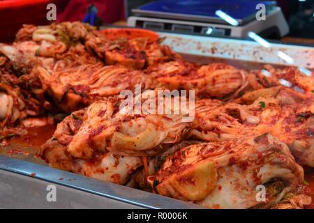 Hot kimchi in Yanji market, Korean minority region, Yanbian, Jilin, China - Stock Photo
