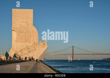 Monument to the Discoveries, Padrao dos Descobrimentos, on the banks of the Tagus River  (Rio Tejo) in the Belem district, Lisbon, Portugal. - Stock Photo