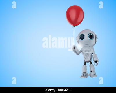 Friendly technology concept with 3d rendering robot hold red balloon - Stock Photo