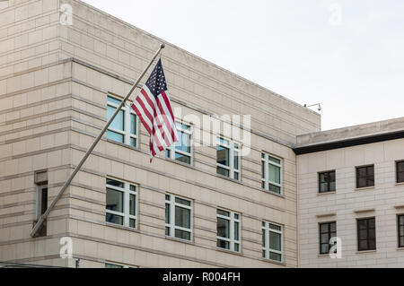 American embassy building in Berlin, Germany, against blue sky background, wallpaper. - Stock Photo