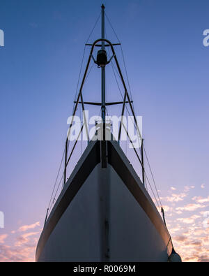 looking up at the bow of a yacht - Stock Photo