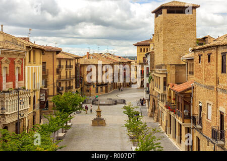 Main street in the Spanish medieval village of Olite, Navarre, Spain - Stock Photo