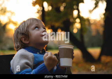 boy holds cup in hands on fallen leaves background. autumn mood beautiful day. Golden fall in still life. Bright Fall image. - Stock Photo