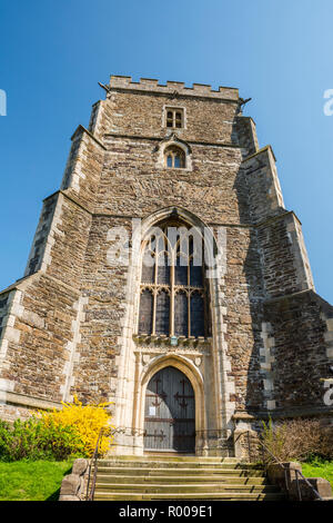The medieval west tower of All Saints Church, Hastings, East Sussex, England - Stock Photo