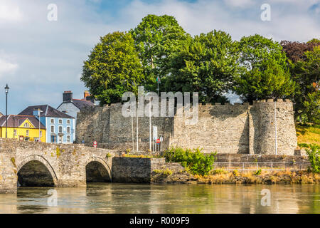 Cardigan Castle and Bridge across the River Teifi, Pembrokeshire, Wales - Stock Photo