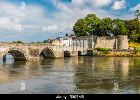 Cardigan Castle and the River Teifi, Cardigan, Ceredigion, Wales - Stock Photo