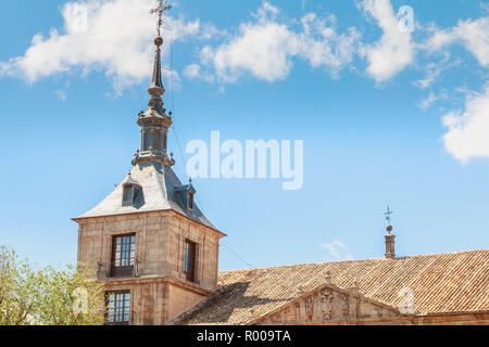 Toledo, Spain - April 28, 2018 - Architectural detail of City Hall of the City on a spring day - Stock Photo