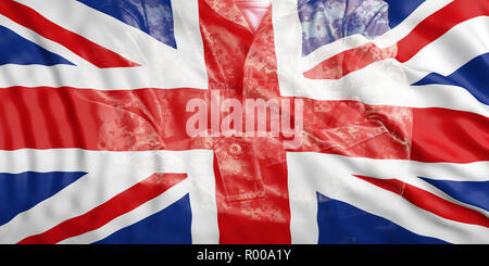 UK  Army concept. United Kingdom flag and faded soldier with crossed arms. 3d illustration - Stock Photo