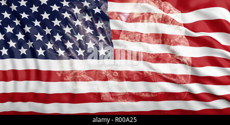 US Army concept. United States of America flag and faded soldier in uniform. 3d illustration - Stock Photo