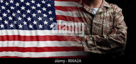 US Army concept. United States of America flag and soldier with crossed arms. 3d illustration - Stock Photo