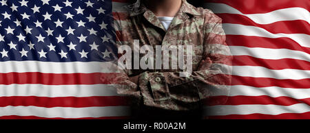 US Army concept. United States of America flag and soldier with crossed arms, banner. 3d illustration - Stock Photo