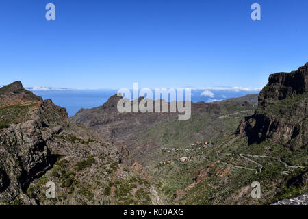 Spain; Canary Islands: Tenerife. Winding mountain road in the Teno Rural Park. *** Local Caption *** - Stock Photo