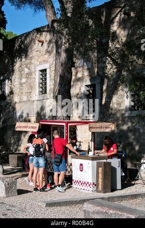 Mobile wine truck at the Miradouro do Castelo de Sao Jorge view point, Lisbon, Portugal. - Stock Photo