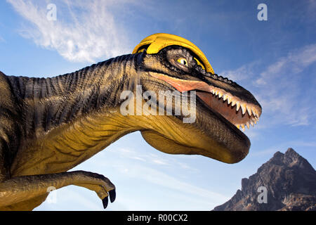 Life-size model of a dinosaur at Lac d'Emosson, site of dinosaur traces, Finhaut, Switzerland - Stock Photo