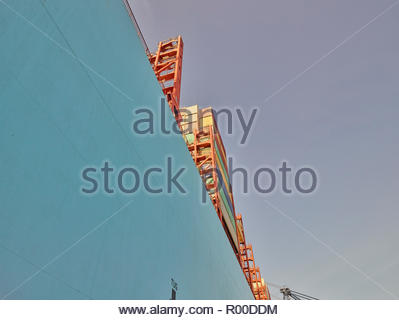 Low angle view of containers on cargo ship - Stock Photo