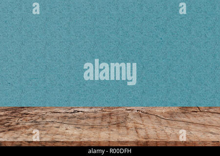 Empty perspective wood plank table top with green background for montage of your product - Stock Photo