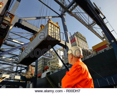Dock worker watching cargo container being unloaded at Port of Felixstowe, England - Stock Photo