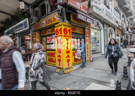 Istanbul, Turkey, September 23., 2018: Kiosk where lottery tickets are sold for high winnings. - Stock Photo
