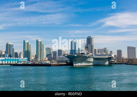 USS Midway (aircraft carrier) Museum, San Diego Harbor, San Diego, California. - Stock Photo