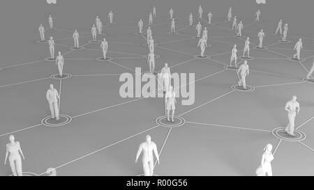 3D rendering with social communication and network concept with 3d models of people - Stock Photo