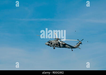 An HSC-3 Merlins helicopter, San Diego Harbor, San Diego, California. - Stock Photo