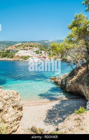 Assos on the Island of Kefalonia in Greece. View of beautiful bay of Assos village, Kefalonia island, Greece - Stock Photo
