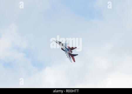 Kazan, Russian Federation - Oktober 27, 2018: Aerobatics performed by one plane of aviation group of Military-air forces of Russia 'Strizhi'. - Stock Photo
