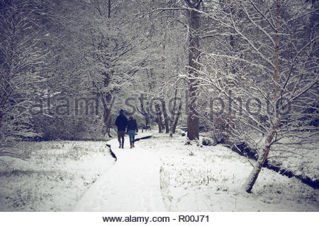 Couple walking in park during winter - Stock Photo