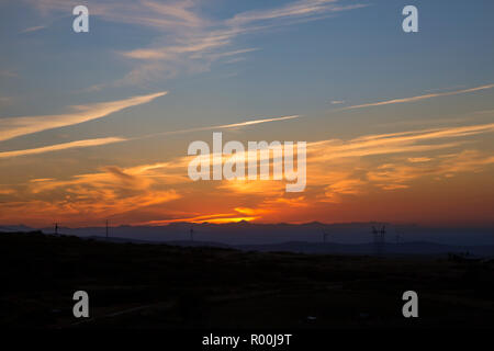 Camino de Santiago (Spain) - Sunshine landscape along the way of St.James near the Cruz de Hierro - Stock Photo