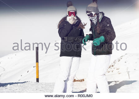 Women at ski field in Spain - Stock Photo