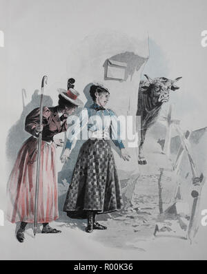 Digital improved reproduction, Two hikers can not keep up because a cow blocks the way, Austria, original print from the year 1899 - Stock Photo