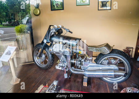 handcrafted motorbike titled 'Big Ned' the ultimate street fighter at the Makers of Metal gallery cafe at the Northern Tablelands country town of Walc - Stock Photo