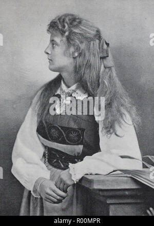 Digital improved reproduction, Swedish girl with long hair and costume, Sweden, original print from the year 1899 - Stock Photo