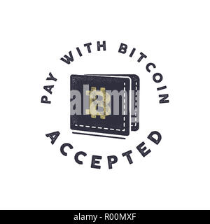 Pay with Bitcoin Accepted emblem. Crypto currencies label and concepts. Digital assets logo. Vintage han drawn monochrome design. Technology patch. Stock illustration isolated on white - Stock Photo