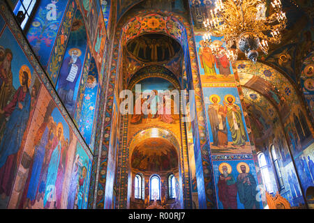 ST. PETERSBURG, RUSSIA - APRIL 12, 2016: Church of the Savior on Spilled Blood interior decoration. It contains over 7500 square meters of mosaics des - Stock Photo