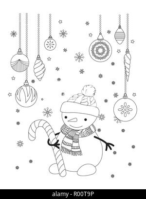 Christmas Coloring Page For Kids And Adults Cute Cat With Scarf And