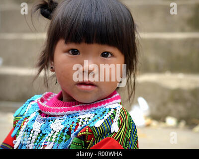 Cute Vietnamese H'mong ethnic-minority hill-tribe toddler girl with dirty face and snotty nose. - Stock Photo